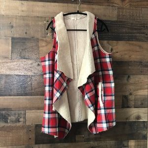 Entry Red Plaid Sherpa Lined Heavy Vest